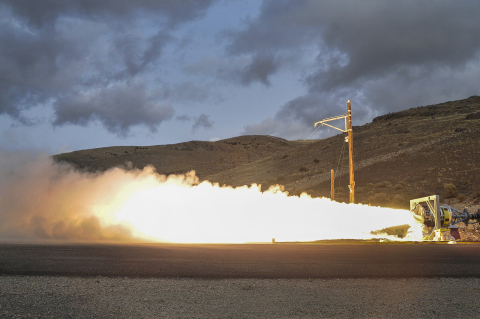 Orbital ATK successfully conducted a ground level static fire test of the Medium Class Stage III solid rocket motor at their facility in Promontory, UT. This was a demonstration test of advanced technologies being studied for use in the forthcoming U.S. Air Force Ground Based Strategic Deterrent (GBSD) system. (Photo: Business Wire)