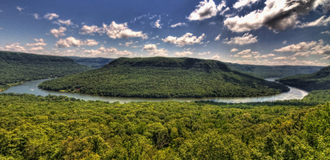 The Tennessee River Gorge is a lush canyon that stretches along 27 miles of the Tennessee River, winding through the Cumberland Mountains to the west of Chattanooga, Tenn. This vast river gorge encompasses 27,000 acres, and since 1981 the Tennessee River Gorge Trust has protected more than 17,000 acres of that through land acquisition, partnerships with private property owners to create conservation easements, and memorandums of understanding. Photo Credit: Kevin Livingood