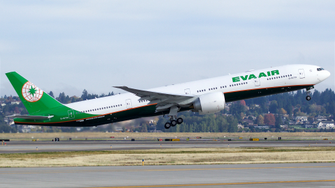The first take off of B777-300ER at ALC's aircraft delivery to EVA Air on November 11, 2015. (Photo: ...