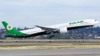 The first take off of B777-300ER at ALC's aircraft delivery to EVA Air on November 11, 2015. (Photo: Business Wire)