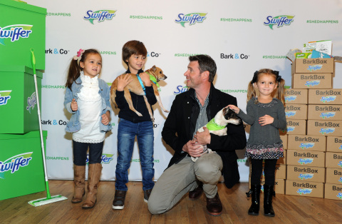Scott Foley joins Swiffer to celebrate the joy of bringing home your child's first pet, Thursday, Nov. 12, 2015, in New York. Foley serves as Swiffer campaign ambassador to spread the word that cleaning concerns should never be an obstacle to pet adoption. (Photo by Diane Bondareff/Invision for Swiffer/AP Images)