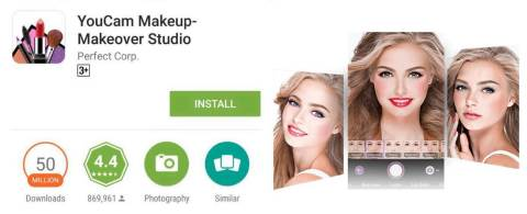 Perfect Corp. announces YouCam Makeup has exceeded 50 million downloads in the Google Play Store, making it the most downloaded digital makeover app in the world. (Graphic: Business Wire)