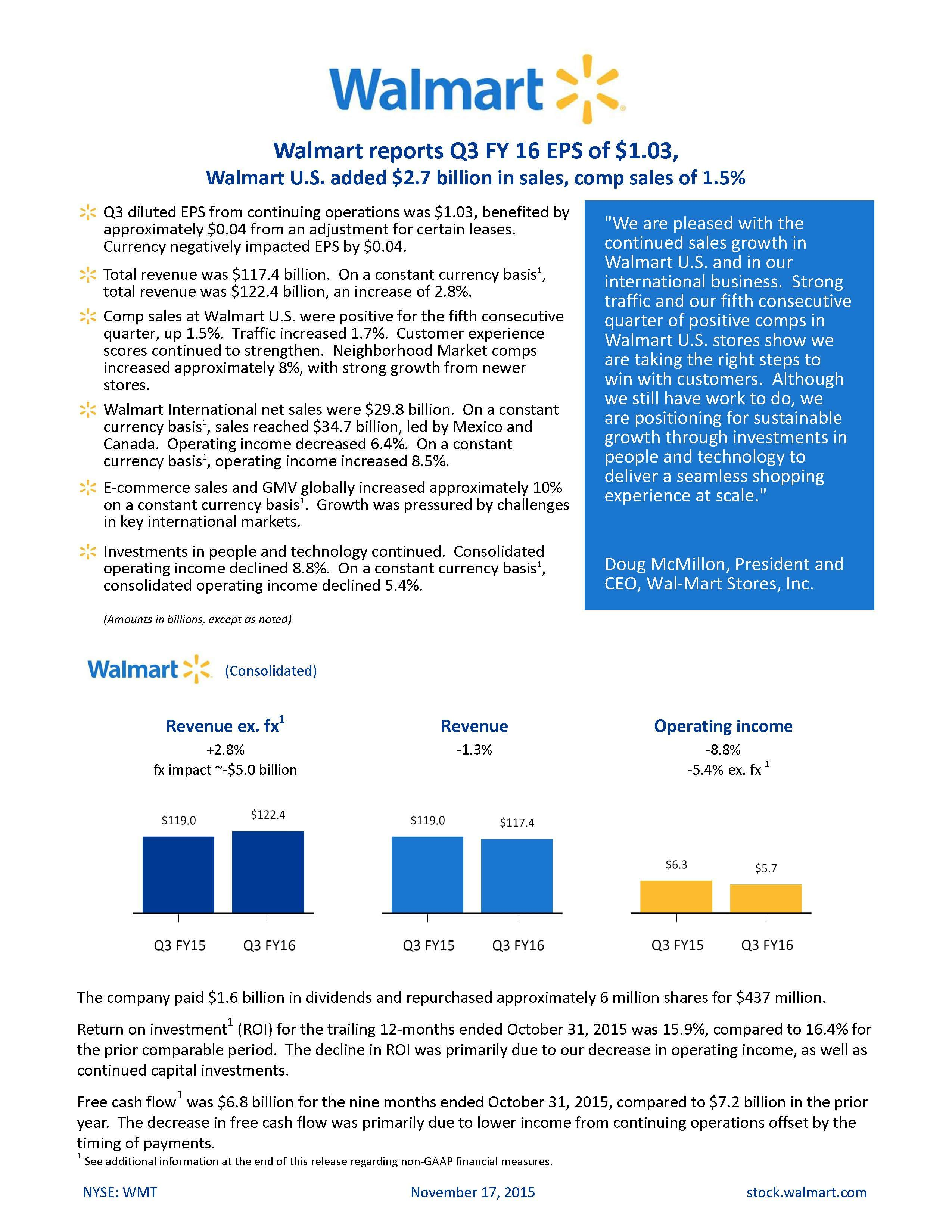 How to get my win number from walmart - Walmart Reports Q3 Fy 16 Eps Of 1 03 Walmart U S Added 2 7 Billion In Sales Comp Sales Of 1 5 Business Wire