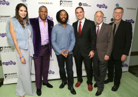 LOS ANGELES, CA - NOVEMBER 11: Hope Dworaczyk, Robert Smith, Ziggy Marley, Chair of Global Wildlife Conservation Brian Sheth, President of The Recording Academy Neil Portnow and Executive Director of the GRAMMY Museum Bob Santelli attend Earth in Concert at Club Nokia on November 11, 2015 in Los Angeles, California. (Photo by Rebecca Sapp/WireImage)