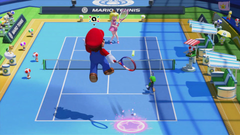 In Mario Tennis: Ultra Smash, jump high into the air and send the ball screaming down the court with the new Jump Shot, grab a Mega Mushroom to gain a HUGE advantage over opponents in Mega Battle (a mode new to the series) or execute an Ultra Smash, a devastating volley that can be difficult to return. (Photo: Business Wire)
