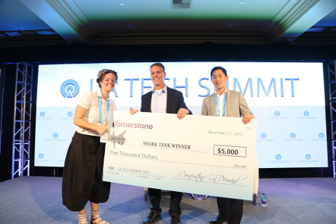 Cornerstone OnDemand founder and CEO Adam Miller and‎ corporate development & innovation fund manager Phil Lee present the Shark Tank Prize to MakieLab CEO Alice Taylor. (Photo: Business Wire)
