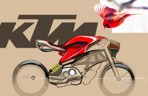 LTU student Peter Corey used Axalta's inaugural North American Automotive Color of the Year, Radiant Red, as inspiration for this sketch of a classic cardinal and futuristic motorcycle. (Photo: Axalta)