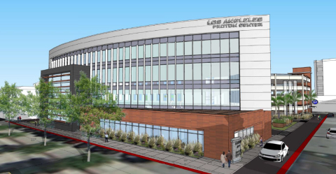 A rendering of the Los Angeles Proton Center in Montebello, Calif., where a three-room MEVION S250mx proton therapy system will begin treating patients in 2017. (Photo: Business Wire)