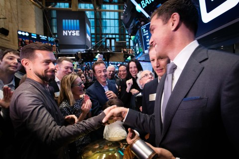 NYSE President Tom Farley congratulates Square CEO Jack Dorsey as Square's IPO opens for trading on the NYSE.  (Photo: NYSE)