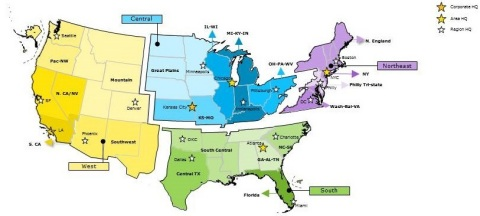 Sprint restructures the company into four geographic areas – West, Central, Northeast and South (Graphic: Business Wire)