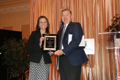 Delaware County of Chamber of Commerce President Trish McFarland and Mike Carr, Axalta President-Nor ...