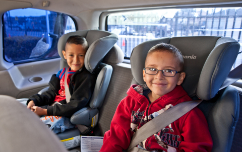 """Booster seats aren't just for the holiday table: Buckle Up For Life reminds parents that children under 4'9"""" should always sit in these special seats to be protected correctly. Learn more child passenger safety tips for the holidays and all year round at buckleupforlife.org. (Photo: Buckle Up For Life)"""