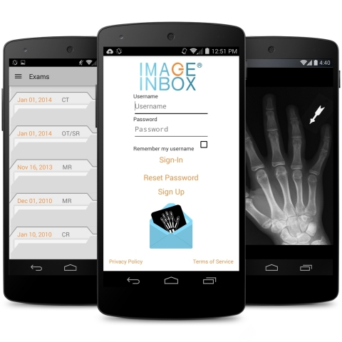 The ImageInbox® mobile app for patient transfer, control and ownership of medical images and diagnostic reports is now available for Android OS users. The app allows patients to send, receive and save important imaging records via their mobile phone. (Photo: Business Wire)