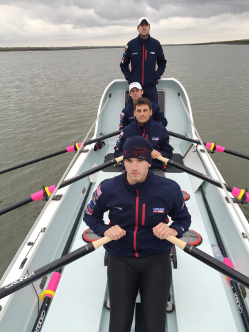 Practicing in the cold ocean waters of the United Kingdom, the crew of Carlisle's American Spirit pr ...