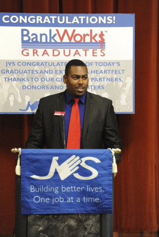 Alumni speaker Dominique Satterwhite, a 2013 JVSLA BankWork$ graduate, is now a personal banker with a promising career at Bank of America. (Photo: Business Wire)