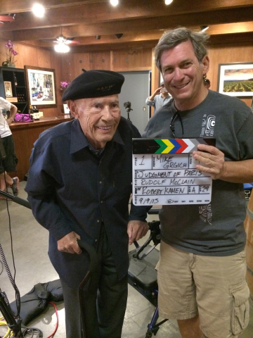 "Miljenko ""Mike"" Grgich with Hollywood Screenwriter Robert Kamen (Karate Kid, Taken Trilogy) filming Judgment of Paris at Grgich Hills Estate (Photo: Business Wire)"