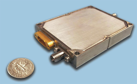 Photo depicts the small form factor of TMS's new line of GaN amplifiers that optimize SWaP in the 0. ...