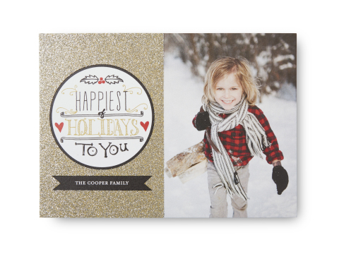 Only available at Tiny Prints, Glitter Cards make a glamorous holiday statement without rubbing off the card. (Photo: Business Wire)
