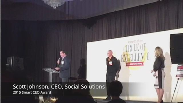Social Solutions Global CEO Scott Johnson accepts Circle of Excellence Award.