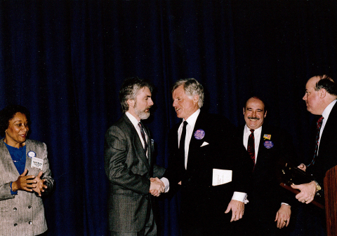 Senator Edward M. Kennedy accepting a leadership award from Jim Hunt, President of the MLCHC, and Dan Driscoll, President and CEO of Harbor Health Services, at the 2005 National Association of Community Health Centers' Policy and Issues Forum. (Photo: Business Wire).