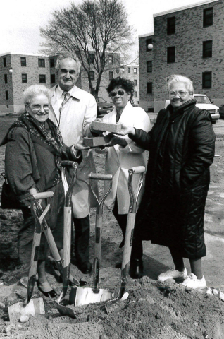 Murielle Rue (third from the left) moved to Columbia Point in 1956, raised her family in Dorchester and worked at Geiger Gibson for 34 years, first as a receptionist then as head of medical records. She still lives on Columbia Point. (Photo: Business Wire).