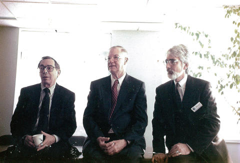 Community health center movement founders Dr. H. Jack Geiger and Dr. Count D. Gibson join health center President Dan Driscoll at the re-naming ceremony for the Geiger Gibson Community Health Center in 1990. (Photo: Business Wire).