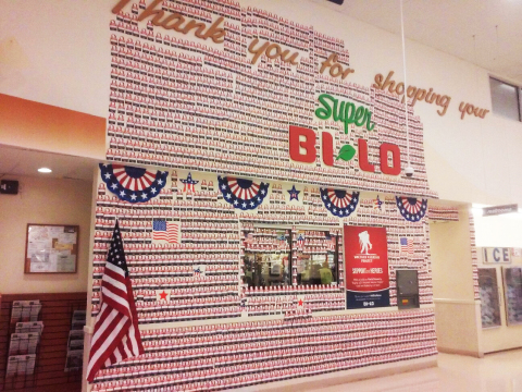 BI-LO customers and associates rallied behind the Wall of Honor community donation campaign, which resulted in $526,824.66 for Wounded Warrior Project's Independence Program, in support of injured veterans and their families. (Photo: Business Wire)