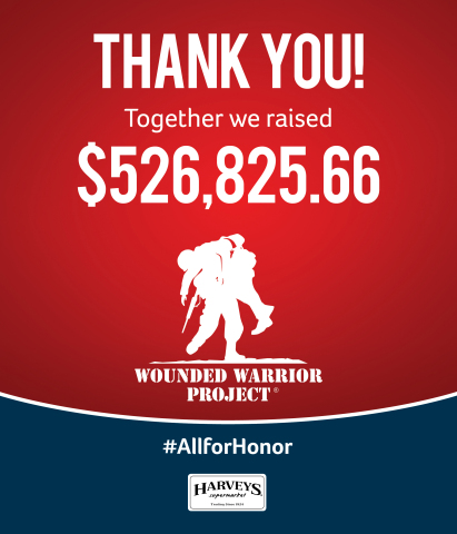 Harveys customers and associates rallied behind the Wall of Honor community donation campaign, which resulted in $526,824.66 for Wounded Warrior Project's Independence Program, in support of injured veterans and their families.  (Photo: Business Wire)