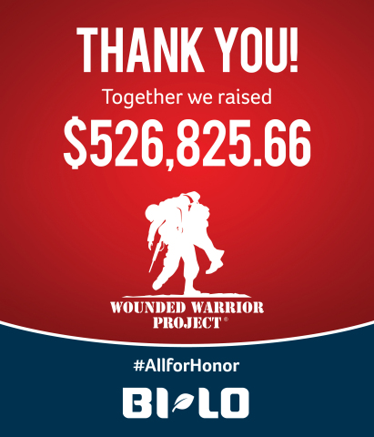 BI-LO customers and associates rallied behind the Wall of Honor community donation campaign, which resulted in $526,824.66 for Wounded Warrior Project's Independence Program, in support of injured veterans and their families.