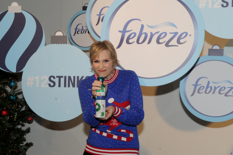 "Jane Lynch hosts the Febreze #12Stinks of Christmas Party, Monday, Nov. 30, 2015 in New York, where she and Matthew Morrison unveiled ""The #12Stinks of Christmas"" video, a parody on the classic holiday tune. Febreze eliminates stinks in a merry way, keeping hosts guest-ready all season long. The video, starring the duo, is available now on the brand's YouTube channel. (Photo by Diane Bondareff/Invision for Febreze/AP Images)"
