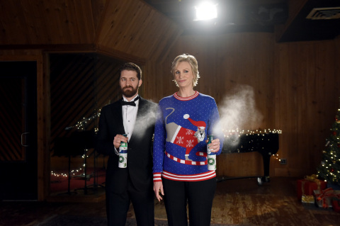 "In this photo released Monday, Nov. 30, 2015, Jane Lynch and Matthew Morrison film ""The #12Stinks of Christmas"" video, a parody on the classic holiday tune, unveiled today at the Febreze #12Stinks of Christmas Party in New York. Febreze eliminates stinks in a merry way, keeping hosts guest-ready all season long. The video, starring the duo, is available now on the brand's YouTube channel. (Photo by Diane Bondareff/Invision for Febreze/AP Images)"