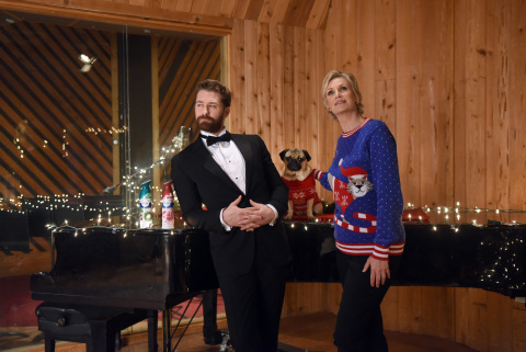 "In this photo released Monday, Nov. 30, 2015, Jane Lynch, Matthew Morrison and Doug The Pug pose piano-side while filming ""The #12Stinks of Christmas"" video, a parody on the classic holiday tune, unveiled today at the Febreze #12Stinks of Christmas Party in New York. Febreze eliminates stinks in a merry way, keeping hosts guest-ready all season long. The video, starring Jane Lynch, Matthew Morrison and Doug The Pug, is available now on the brand's YouTube channel. (Photo by Diane Bondareff/Invision for Febreze/AP Images)"