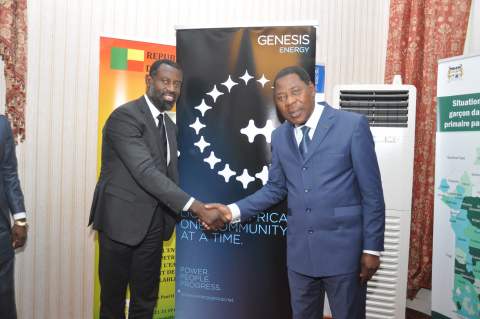 The President of the Republic of Benin and The CEO of Genesis Energy, pictured at the signing ceremony of a 360MW power project in Benin. (Photo: Business Wire)