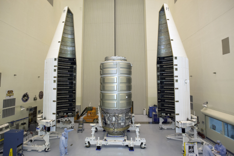 Orbital ATK's Cygnus spacecraft is prepared for Thursday's launch from Kennedy Space Center. (NASA P ...