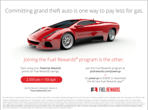 Details of the promotion for GameStop PowerUp Rewards members when joining the Fuel Rewards program. (Graphic: Business Wire)