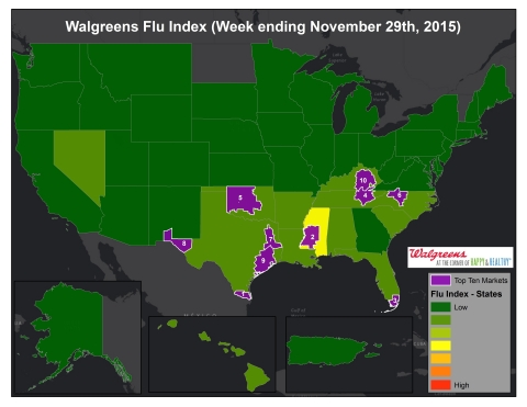 Walgreens Flu Index (Week ending November 29th, 2015) (Graphic: Business Wire)