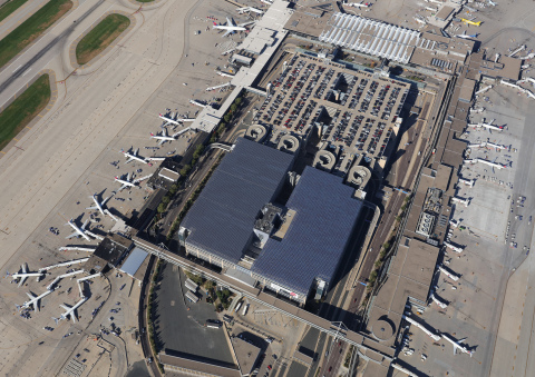 3MW solar installation on the top deck of two parking structures at Minneapolis-St. Paul International Airport.(Photo: Business Wire)