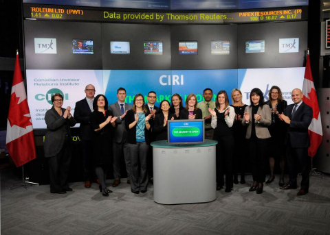 CIRI celebrate the 2015 Certified Professionals in Investor Relations (CPIRs) at the Toronto Stock Exchange market open. (Photo: Business Wire)