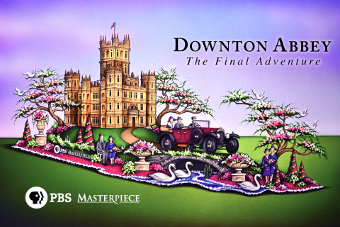 "Rendering of the ""Downton Abbey"" on MASTERPIECE float debuting in the 127th Rose Parade®. Credit: Paradiso Parade Floats"