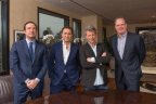 Left to right: John Collins - CEO of On Location Experiences, Gerry Cardinale of RedBird Capital Partners, Jon Bon Jovi, George Pyne of Bruin Sports Capital at RedBird Capital's NYC office. (Photo: Business Wire)