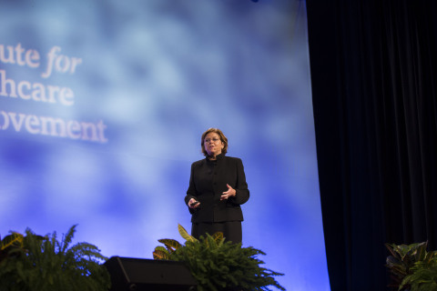 """IHI President & CEO Maureen Bisognano encourages the 5,500 health professionals at IHI's National Forum on Quality Improvement in Health Care (Dec 6-9, 2015) in Orlando to continue their efforts, stating, """"I have never been more confident that we will achieve the Triple Aim of better care, better health, and lower costs."""" (Photo: Business Wire)"""