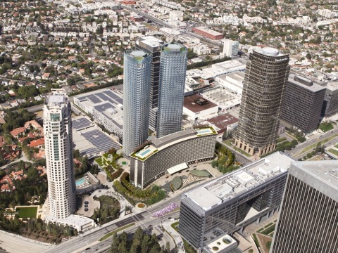 $2.5 billion Century Plaza Hotel and adjoining development including two 46-story towers to start March 1, 2016. (Photo: Business Wire)