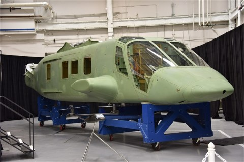 The V-280 tiltrotor fuselage prototype was delivered by the Bell Helicopter/Spirit AeroSystems team ahead of schedule and within budget. Collier Research's HyperSizer design software supported the program with detailed sizing and structural analysis. (Photo: Business Wire)