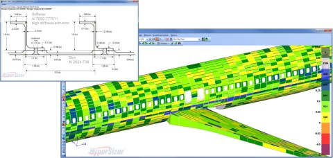 Collier Research's HyperSizer software is used for certification analysis of composite and metallic airframe structures, such as this airplane fuselage. For metals, the detailed stiffener dimensions (shown in the insert) are included for stress reports. (Photo: Business Wire)