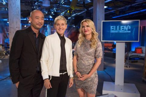 Ellen with judges Cliff Fong and Christiane Lemieux from Ellen's Design Challenge on HGTV. (Photo: Business Wire)