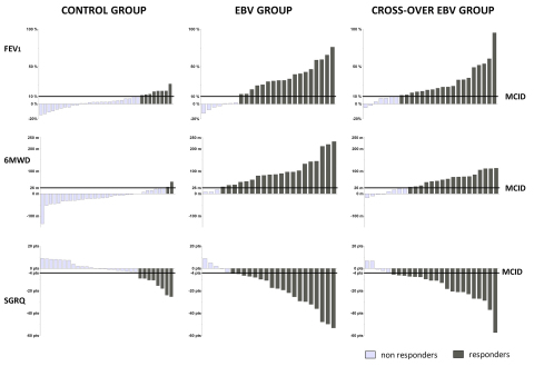 Responder Rates in Control Group, EBV Group and Cross-Over Group Among Patients Who Completed the Study. EBV denotes endobronchial valve. One bar represents a patient. Light-grey colored bars represent the patients who were not reaching the minimal clinically important difference (MCID). Dark-grey colored bars represent the patients who did reach the MCID. FEV1: forced expiratory flow in 1-second; 6MWD: 6 minute walk test distance; SGRQ: St. George's Respiratory Questionnaire, a measurement of quality of life. The New England Journal of Medicine ©2015 (Graphic: Business Wire)