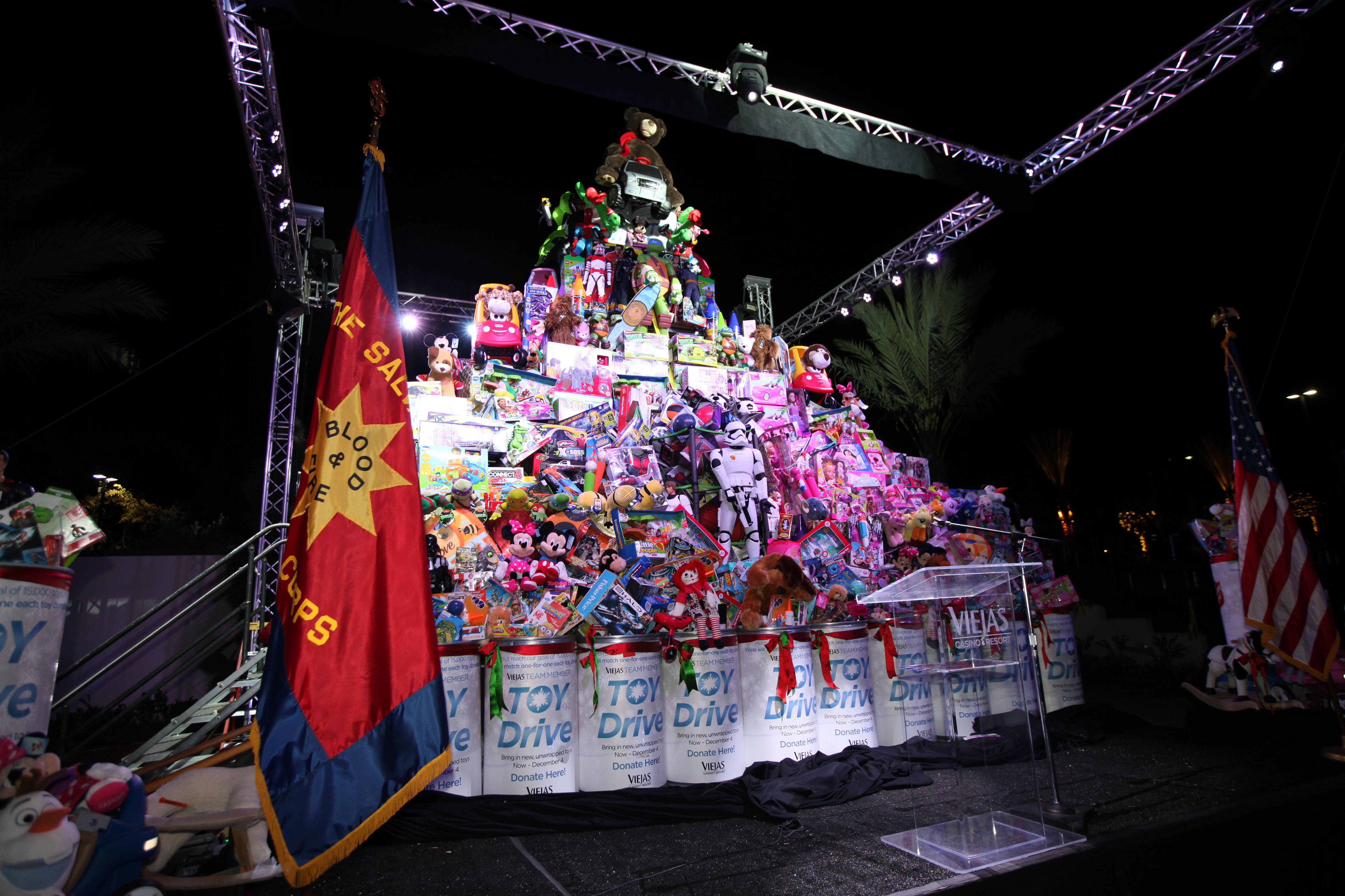 On-stage presentation of just some of the 17,368 toys that Viejas has donated to the Salvation Army. (Photo: Business Wire)