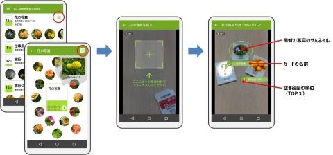 東芝:専用アプリ「Memory Card Preview」をインストールした、NFC搭載のAndroid(TM)スマートフォンの画面イメージ (画像:ビジネスワイヤ)