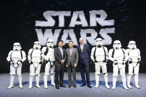 Walt Disney International Chairman Andy Bird (Right), Mtime CEO Kelvin Hou (Middle), and Walt Disney ...