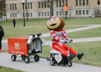 Ohio State University (OSU) mascot Brutus the Buckeye is seen making emergency coffee deliveries to sleep-deprived students during finals week, care of Nestle's® Coffee-mate®. (Photo: Business Wire)